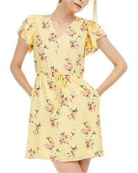 Maison Jules Floral-print Flutter-sleeve Dress, Created For Macy's - Yellow