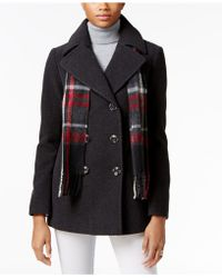 London Fog | Double-breasted Peacoat With Scarf | Lyst