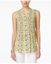 Charter Club | Printed Sleeveless Blouse, Only At Macy's | Lyst