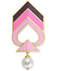 Kate Spade Gold-tone Imitation Pearl Enamel Chevron Pin - Pink