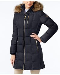 Michael Kors Faux-fur-trim Down Puffer Coat - Blue