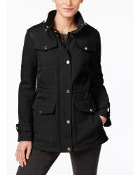 Michael Kors Michael Petite Quilted-trim Water-resistant Jacket - Black