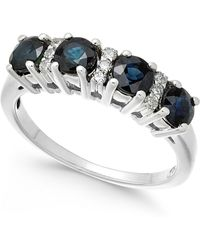 Macy's - Sapphire (1-1/3 Ct. T.w.) & Diamond (1/10 Ct. T.w.) Ring In 14k White Gold - Lyst