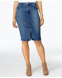 Lee Platinum - Denim Pencil Skirt - Lyst