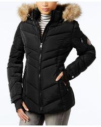 da4781a34 Faux-fur-trim Hooded Chevron Puffer Coat - Black