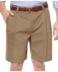 Geoffrey Beene Big And Tall Shorts, Extender Waist Double Pleat Shorts - Natural