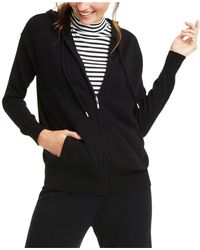 Charter Club Cashmere Zip-front Hoodie, Created For Macy's - Black