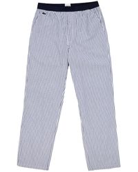 Lacoste Cotton Striped Pajama Pants - Blue