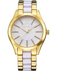 8b42269f0 COACH Boyfriend Crystal Stainless Steel Rubber Strap Watch in White - Lyst