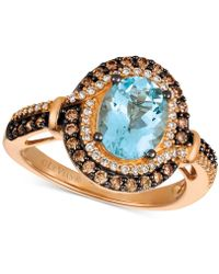 Le Vian - Aquamarine (1-3/8 Ct. T.w.) And Diamond (1/2 Ct. T.w.) Halo Ring In 14k Rose Gold - Lyst