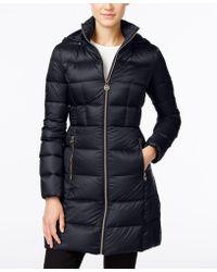 Michael Kors Petite Hooded Packable Puffer Coat - Blue