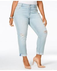 American Rag - Trendy Plus Size Ripped Zuly Wash Cropped Jeans, Only At Macy's - Lyst