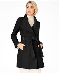 Calvin Klein Petite Belted Toggle Wrap Coat - Black