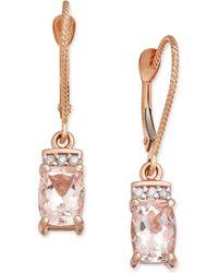 Macy's - Morganite (1-9/10 Ct. T.w.) & Diamond Accent Drop Earrings In 14k Rose Gold - Lyst