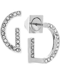 Vince Camuto - Silver-tone Pavé Semi-circle Hoop Earrings - Lyst