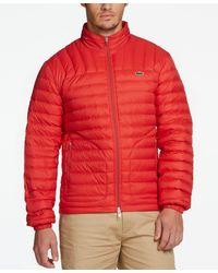 Lacoste Men's Water-repellent Ripstop Puffer Coat - Red