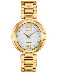 Citizen - Capella Diamond-accent Gold-tone Stainless Steel Bracelet Watch 34mm - Lyst