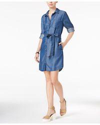 Velvet Heart Anita Tab-sleeve Chambray Shirtdress - Blue