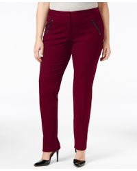 Alfani Plus Size Faux-leather-trim Tapered-leg Pants, Only At Macy's