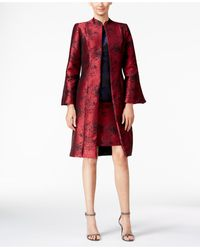 B Michael Abstract Topper Evening Jacket - Red