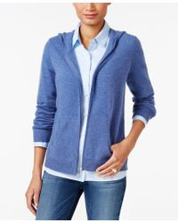 Charter Club Cashmere Zip-front Hoodie, Only At Macy's - Blue