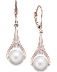 Macy's - Cultured Freshwater Pearl (8-1/2mm) & Diamond Accent Drop Earrings In 14k Rose Gold - Lyst