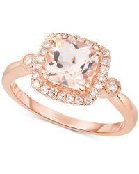 Macy's - Morganite (1-1/3 Ct. T.w.) & Diamond (1/5 Ct. T.w.) Halo Ring In 14k Rose Gold - Lyst