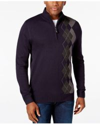 Tricots St Raphael - Men's Argyle Quarter-zip Mock-collar Sweater - Lyst