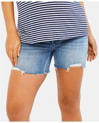 PAIGE Maternity Frayed Denim Shorts - Blue