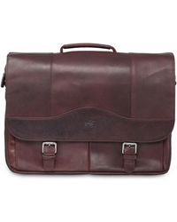 Mancini Buffalo Collection Porthole Laptop/ Tablet Briefcase - Brown