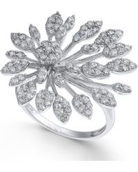 Macy's - Diamond Flower Burst Statement Ring (1-1/3 Ct. T.w.) In 14k White Gold - Lyst