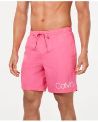 """Calvin Klein Logo 7"""" Volley Swim Trunks, Created For Macy's - Pink"""