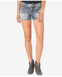 Silver Jeans Co. - Berkley Ripped Indigo Wash Cotton Shorts - Lyst
