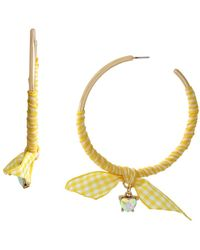 Betsey Johnson Gingham Wrapped Hoop Earrings - Yellow