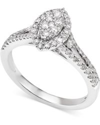 Macy's - Diamond Marquise-style Cluster Engagement Ring (1/2 Ct. T.w.) In 14k White Gold - Lyst