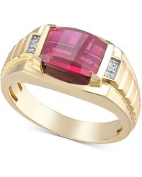 Macy's Lab-created Ruby & Diamond Accent Ring In 18k Gold-plated Sterling Silver (also In Lab-created Sapphire) - Metallic