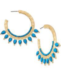Danielle Nicole - Gold-tone Turquoise-look Hoop Earrings - Lyst