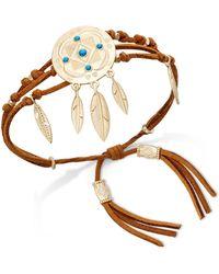 Danielle Nicole - Gold-tone Turquoise-look Faux-suede Dream Catcher Bracelet - Lyst
