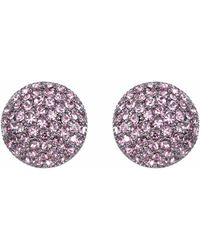Nina Swarovski Pave Button Small Earring - Multicolor