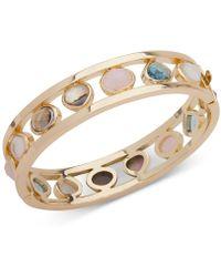 Anne Klein - Gold-tone Multi-stone Bangle Bracelet - Lyst