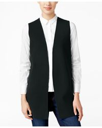 Charter Club Open-front Sweater Vest, Only At Macy's - Black