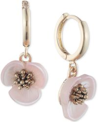 Lonna & Lilly - Gold-tone Imitation Mother-of-pearl Flower Drop Off Hoop Earrings - Lyst