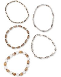 Style & Co. Gold-tone 5-pc. Set Beaded Stretch Bracelets, Created For Macy's - White