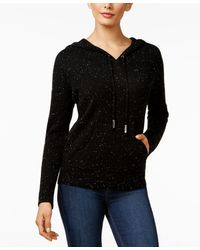 Charter Club Cashmere Donegal Hoodie, Only At Macy's - Black