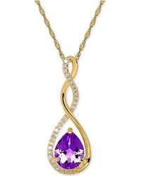 Macy's - Birthstone And Diamond (1/10 Ct. T.w.) Pendant Necklace In 14k White Or Yellow Gold - Lyst