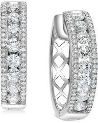 """Macy's Diamond Openwork Small Hoop Earrings (1-1/2 Ct. T.w.) In 14k White Gold, 0.75"""""""