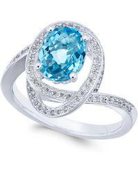 Macy's - Blue Topaz (2-1/6 Ct. T.w.) & Diamond (1/3 Ct. T.w.) Ring In 14k White Gold - Lyst