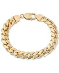 Macy's Wide Cuban Link Bracelet In 18k Gold-plated Sterling Silver - Metallic