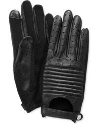 Lauren by Ralph Lauren - Channel Quilted Hybrid Leather And Knit Tech Gloves - Lyst