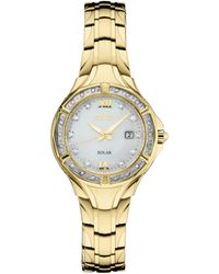 Seiko - Solar Diamond Collection Diamond-accent Gold-tone Stainless Steel Bracelet Watch 29mm - Lyst